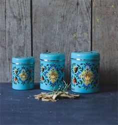 hand painted canisters **sold out** www.BarnDanceVintage.com