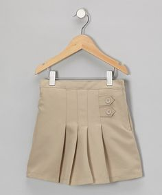 Take a look at this Khaki Button-Front Pleated Skirt - Girls by Genuine School Uniform on #zulily today! $5,99