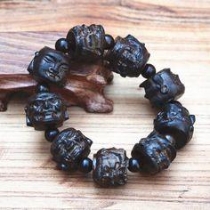 Faith - Buddha Mala Strand Bracelet, Hand Carved, Buddha, Jewelry Accessories, Carving, Beads, Bracelets, Faith, Jewellery