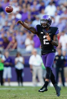 Quarterback Trevone Boykin #2 of the TCU Horned Frogs looks for an open receiver against the Oklahoma Sooners in the second half at Amon G. Carter Stadium on October 4, 2014 in Fort Worth, Texas.