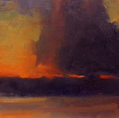 'Cloud Over Wildwood Reservoir ' 6x6 Oil on Canvas  by David Sharpe