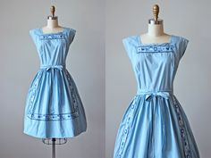 50s Dress - Vintage 1950s Swirl Dress - Blue Scandinavian Embroidery Hearts Floral Cotton Full Skirt Wrap Dress S M - Dutch Treat Dress by jumblelaya on Etsy