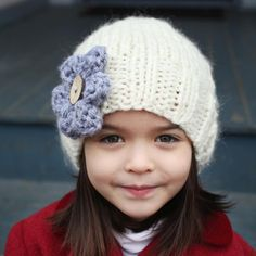Slouchy Hat with Flower - Ava  - easy knit, would suit beginner, child to adult sizes.  Instructions for in the round knitting and knitting flat