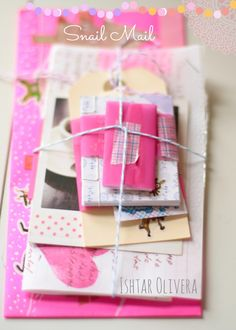 Cute snail mail letters tied with string