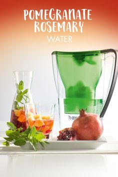 Pomegranate Rosemary Water #water #refreshing #pomegranate #rosemary  https://www.bwt-filter.com/en/products/Table-water-filter-Cartridges/expert-opinion/Recipe-ideas-for-the-office/Pages/default.aspx