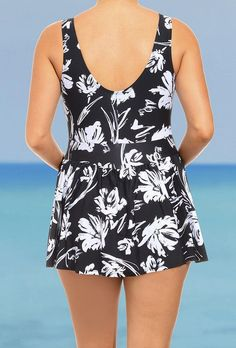 Women Swimwear One Pieces Swimsuits Black and White Print floral high waisted bathing suits Plus Size Swimwear - NailArts Black Swimsuit, One Piece Swimsuit, Rockabilly, Girls Cape, Tartan Scarf, Swimsuits For All, Bikini, Hair Accessories For Women, Swim Dress