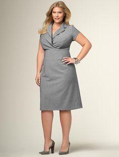 LOVE- so classic. Wool wrap bodice sheath dress, 4 colors #plussize