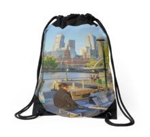 Being Creative by the Yarra River - Melbourne, Victoria Drawstring Bag