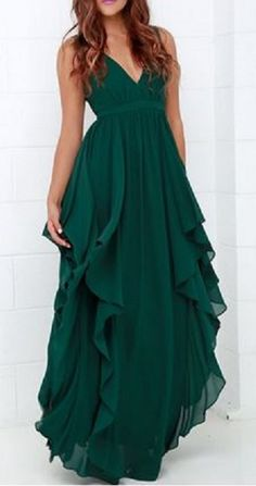 Love the Ruffled Draping! Sheer Emerald Green Chic Women's Plunging Neck Deep Green Color Chiffon Prom Dress #Sheer #Draped #Ruffled #Prom #Dress #Maxi_Dress #Fashion