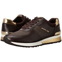 MICHAEL Michael Kors Allie Trainer (Brown Suprema Nappa Sport/Mini MK...  (16335 RSD) ❤ liked on Polyvore featuring shoes, sneakers, brown lace up  shoes, ...