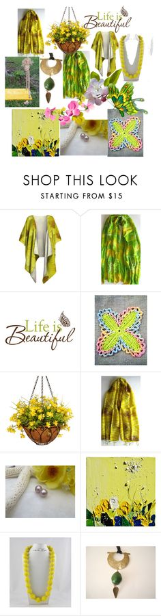 """""""Life is Beautiful"""" by anna-recycle ❤ liked on Polyvore featuring Wall Pops!, National Tree Company, Giallo, modern, rustic and vintage"""