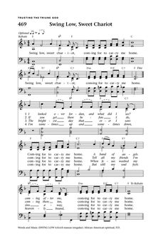 """Lift Up Your Hearts: psalms, hymns, and spiritual songs page 510. """"Swing Low, Sweet Chariot"""" from Hymnary.org"""