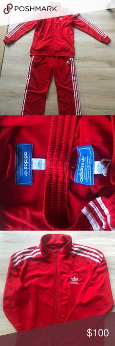 VINTAGE RED ADIDAS FIREBIRD TRACKSUIT This is for both the jacket and pants. Pants have zipper closures on the pockets. Beautiful vintage condition. Also selling this in black. Men's size XL but it runs much smaller and is closer to a man's medium or large. adidas Other