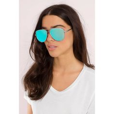QUAY High Key Aviator Sunglasses ($58) ❤ liked on Polyvore featuring accessories, eyewear, sunglasses, silver and blue, quay eyewear, aviator style sunglasses, blue aviator sunglasses, silver glasses and silver aviator sunglasses