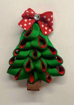 Pink Christmas Tree Ribbon Sculpture Hair Clip By Leilei1202  - Christmas Tree Hair Bows