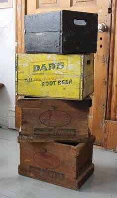 Vintage Wooden Crates / Boxes - DADS Root Beer. via departmentChicago