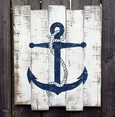 Aye Aye Sailor - Nautical Decor Inspiration - Beach Bliss Living , You could make these easy breezy! Other cute single images too: heart, pineapple, star, etc. Arte Pallet, Pallet Art, Pallet Painting, Deco Marine, Nautical Bathrooms, Nautical Kitchen, Distressed Painting, Beach Signs, Beach Crafts