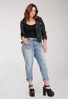 Plus Size Acid Wash Boyfriend Jeans