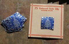 500-vtg-40-039-s-50-039-s-embossed-foil-CHRISTMAS-SEALS-blue-silver-TREE-new-old-stock