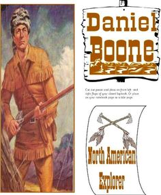 Free notebook or lapbook cover for Daniel Boone - North American Explorer for a homeschool history unit study