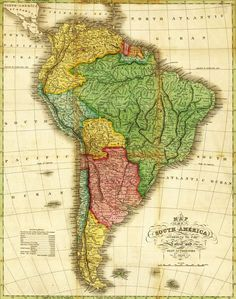 South America - - Panoramic Map (Art Print Available) Framed Artwork, Framed Prints, Canvas Prints, Art Prints, Common Core Social Studies, South America Map, Latin America, House Map, Old Maps