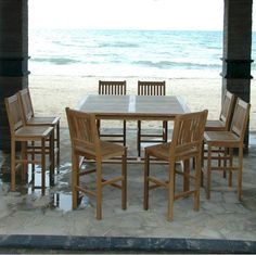 The Anderson Teak Avalon 9 Piece Bar Height Patio Dining Set fills your leisure hours with family and friends. Solid teak furnishings always look impressive. Metal Chairs, Bar Chairs, Ikea Chairs, Office Chairs, Rattan Chairs, Desk Chairs, Stools, Home Bar Furniture, Outdoor Furniture Sets