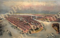 New York Manhattan waterfront, Brooklyn Bridge, and Governors Island in the foreground NY0005 Vintage Reproduction Poster Print Map