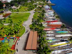 Papeete, Tahiti. Look at all the Wa'a ( Va'a) Outrigger Canoes in Papeete, Tahiti by Pierre Lesage on Flickr