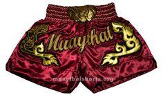 Muay Thai Shorts Deep Red Satin Elephant Head LSH152
