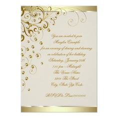 Shop Elegant Gold and Ivory Cream Birthday Invitation created by Champagne_N_Caviar. Champagne Birthday, Champagne Party, Gold Birthday Party, Gold Party, Birthday Party Invitations, Birthday Parties, Gold Invitations, Elegant Invitations, 50th Wedding Anniversary
