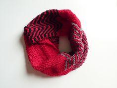 snood en laine, rayé rouge noir gris, mixte, en laine tricoté main : Echarpe, foulard, cravate par dyspo-laine