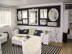 Living Room Mirror Collage Wall 49 White and Black Room White Mirrors On Black Backdrop Black Rooms, White Rooms, Black Walls, Small House Living, Living Spaces, Living Area, Living Rooms, Mirror Gallery Wall, Mirror Collage