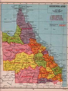 Queensland Australia Antique Map Maps Pinterest Antique - Antique maps for sale australia