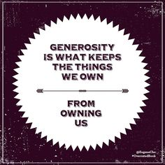 """Generosity is what keeps the things we own from owning us."" —Eugene Cho, from his new book available everywhere books are sold! Generosity Quotes, Cool Words, Wise Words, Word Of Advice, Spiritual Inspiration, The Ranch, Christian Life, Encouragement Quotes, Helping Others"