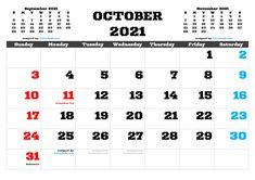 Free Calendar, 2021 Calendar, Calendar Printable, Image File Formats, Months In A Year, Free Printables, October, Pdf, Design Templates