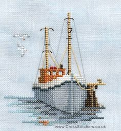 Cross Stitch Embroidery Fishing Boat - Minuets - Cross Stitch Kit from Derwentwater Designs Cross Stitch Sea, Beaded Cross Stitch, Counted Cross Stitch Kits, Cross Stitch Charts, Cross Stitch Designs, Cross Stitch Embroidery, Embroidery Patterns, Cross Stitch Patterns, Cross Stitch Geometric
