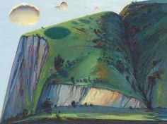 Wayne Thiebaud (American, b. Napa Valley Ridge, Oil on canvas, 36 x 48 in. Richard Diebenkorn, Abstract Landscape, Landscape Paintings, Wayne Thiebaud Paintings, Wine Images, Plein Air, Figure Painting, New Art, Art History