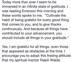 Gratitude - Wayne Dyer quoting Ralph Waldo Emerson