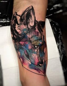wolf watercolor tattoo -- like line work and looseness