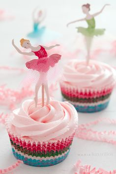 Cupcakes helado de fresa, versión bailarinas