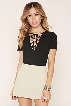 Lace-Up Ribbed Top by Forever 21 Skirt Fashion, Fashion Outfits, Womens Fashion, Fashion Trends, Casual Outfits, Cute Outfits, Sexy Outfits, Forever 21, Laced Up Shirt