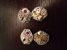Twin Steampunk Owls, Handmade Steampunk owls from vintage watch parts.