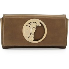 Versace Leather Logo Clutch Bag ($720) ❤ liked on Polyvore featuring bags, handbags, clutches, dark green, brown purse, versace purses, dark green handbags, dark green purse and flap purse