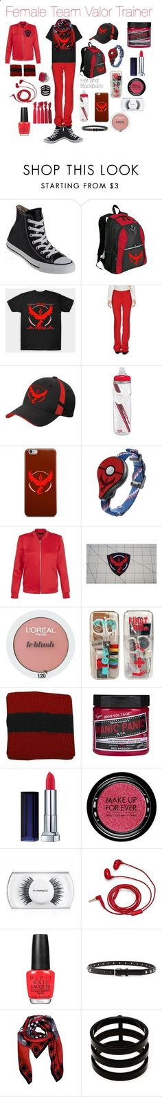 Female Team Valor Trainer by emmasart ❤ liked on Polyvore featuring Converse, Valor, ESCADA, CamelBak, New Look, LOréal Paris, Maybelline, MAKE UP FOR EVER, MAC Cosmetics and FOSSIL