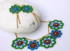 Crochet necklace with earrings - Crochet jewelry - Textile jewelry -Summer Accessory - Crochet flower