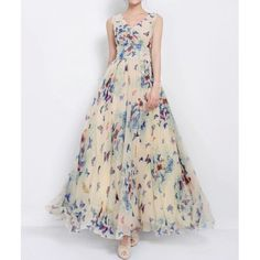 Women's Graceful Full Butterfly Print High Waist Lace Up Sleeveless Chiffon Dress, AS THE PICTURE, M in Chiffon Dresses | DressLily.com