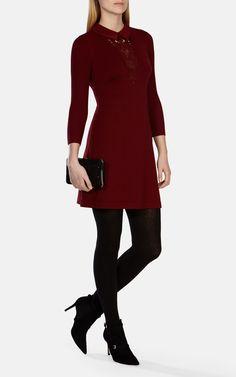 DARK RED STRETCH KNIT LACE DETAIL MINI DRESS | Luxury Women's saleknitwear | Karen Millen