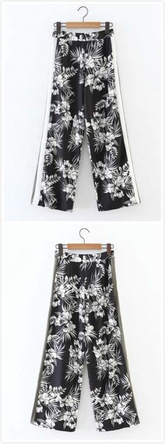 Wide-legs pants will never out-fashion. This floral print looks sexy and summery, and perfect worn with a pair of black strappy high heels.