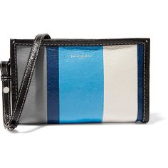 Balenciaga Bazar striped glossed textured-leather shoulder bag ($670) ❤ liked on Polyvore featuring bags, handbags, shoulder bags, blue, blue handbags, balenciaga, striped shoulder bag, lightweight purses and balenciaga shoulder bag