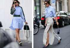 A blue shirt is the perfect addition to your summer wardrobe. Wearing it with black pants emphasizes the blue color. For a more feminine effect wear the shirt … 2015 Trends, Summer Wardrobe, Black Pants, High Waisted Skirt, Feminine, Day, Skirts, How To Wear, Blue